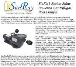 1.5HP SunRay Solar Powered Pool Pump DC Motor Inground Variable 180v Spa Pond