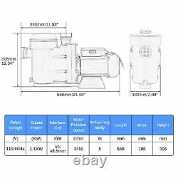 1.5HP Swimming Pool Water Pump Above Ground Strainer Efficient 3450RPM 1 1/2