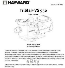 Hayward TriStar VS 950 Variable Speed In-Ground Pool Pump SP32950VSP