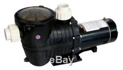 High Performance Swimming Pool Pump In-Ground 1 HP 115-230V with Union Fittings