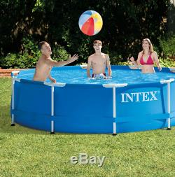 Intex 10' Foot x 30 Inch Swimming Metal Frame Pool Above Ground With Pump