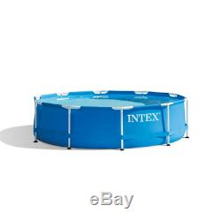 Intex 10' Foot x 30 Inch Swimming Metal Frame Pool Above Ground With Pump 30