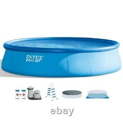 Intex 18' X 48 Easy Set Pool with Ladder Filter Pump Ground Cloth & Cover
