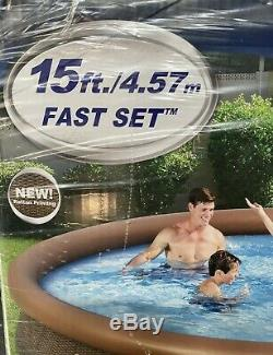 NEW Bestway Fast Set15ft X 33In Ground Swimming Pool Set With Filter Pump NEW