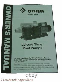 Onga LTP750 Leisure Time Pool Pump 1.00 HP Leisuretime Swimming Pool Pump Spa So
