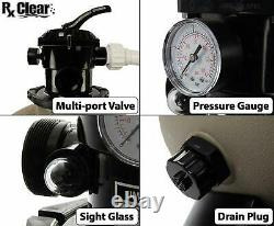 Rx Clear 22 Inch Above Ground Swimming Pool Sand Filter System with 1.5 HP Pump
