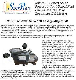 SunRay In 2 Panels 60v Variable 1.5HP Pond Solar Powered Pool Pump DC Brushless