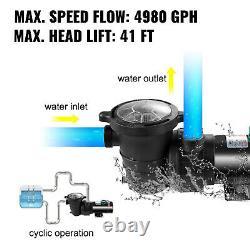 VEVOR 1.5HP Pool Pump Swimming Pool Pump 4980GPH In/Above Ground Pool Pump 1.5